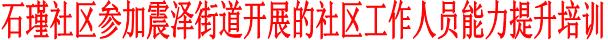 石瑾社区参加震泽街道开展的社区工作人员能力提升培训