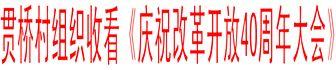 贯桥村组织收看《庆祝改革开放40周年大会》
