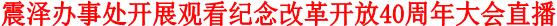震泽办事处开展观看纪念改革开放40周年大会直播